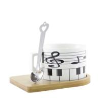 Piyano Tasarımlı Kupa Fincan -Ahşap Altlık