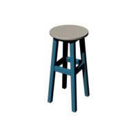 Arbre Ahşap Stools, Bar Taburesi 65 cm Gök Mavisi- Eskitme Beyaz Tabla