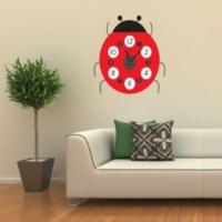 Hediye Paketim Uğur Böceği Tasarımlı Duvara Yapışan Saat