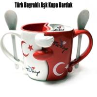 Tvshopmarket Türk Bayraklı Aşk Kupa Bardak
