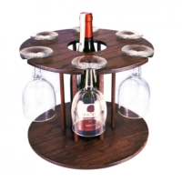 Purupa Ahşap Şarap Ve Kadeh Standı Şaraplık Kontra
