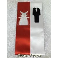 Müstakbel Gelin Gelin Damat Motifli Takı Kurdelesi - Kırmızı-Beyaz