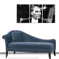 3 Parça Mustafa Kemal Atatürk Kanvas Tablo 30x63 cm
