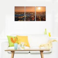 3 Parça İstanbul ve Galata Köprüsü Manzarası Kanvas Tablo 30x63 cm