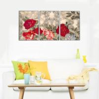 3 Parça Çiçekler 4 Kanvas Tablo 30x63 cm