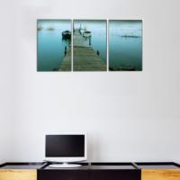 3 Parça İskele ve Deniz Kanvas Tablo 30x63 cm