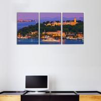 3 Parça İstanbul Manzarası Kanvas Tablo 30x63 cm