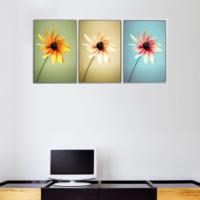 3 Parça Üç Renk Papatya Kanvas Tablo 30x63 cm