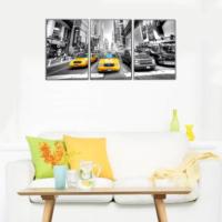 3 Parça Newyork Times Meydanı Kanvas Tablo 30x63 cm