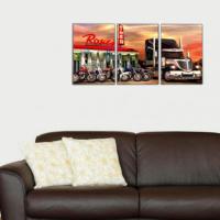 3 Parça Tır ve Motorlar Kanvas Tablo 30x63 cm