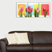 3 Parça Çiçekler 5 Kanvas Tablo 30x63 cm