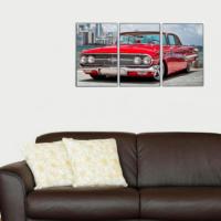 3 Parça Retro Kırmızı Araba Kanvas Tablo 30x63 cm