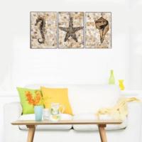 3 Parça Deniz Canlıları Kanvas Tablo 30x63 cm
