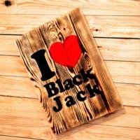 Oldwooddesign I Love Black Jack Tablo