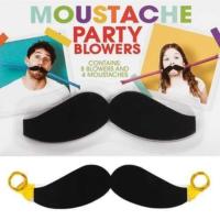 Npw Moustache Party Blowers - Kaynana Bıyığı - Bıyık Tasarımlı Kaynana Dili Seti - 12Li Set