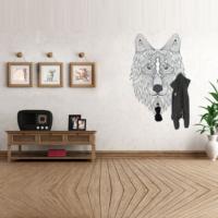 Ejoya Desenli Siyah Renk Kurt Askılık Duvar Sticker