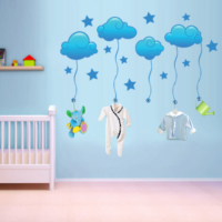 Ejoya Mavi Yıldızlı Bulutlar Duvar Sticker