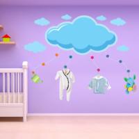 Ejoya Mavi Dev Bulut Ve Bulutcuklar Duvar Sticker