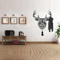 Ejoya Desenli Siyah Renk Geyik Askılık Duvar Sticker