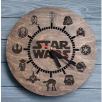 Markakanvas Ahşap Yuvarlak Star Wars Duvar Saati
