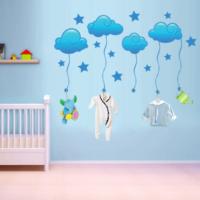 Ejoya Mavi Yıldızlı Bulutlar Duvar Sticker 72729