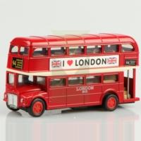 Londra Çift Katlı Die cast Çek Bırak Metal Otobüs London Bus 12 cm