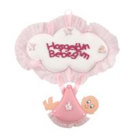 KullanAtMarket Hoşgeldin Bebeğim Pembe Kundak Kapı Süsü