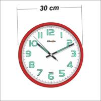 M3 Decorium Kırmızı Karanlıkta Okunabilen Fosforlu Duvar Saati 30 Cm