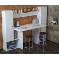 Demonti Mobilya Elegant Raflı Dolaplı Mutfak Masası Beyaz