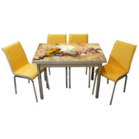 Mavi Mobilya Mutfak Cam Masa Takımı Yandan Açılır 13R6 (6 Suni Deri Sarı Sandalyeli)