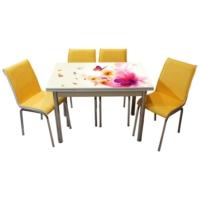 Mavi Mobilya Mutfak Cam Masa Takımı Yandan Açılır 15R6 (6 Suni Deri Sarı Sandalyeli)
