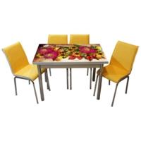 Mavi Mobilya Mutfak Cam Masa Takımı Yandan Açılır 16R6 (6 Suni Deri Sarı Sandalyeli)
