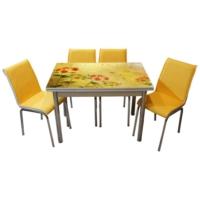 Mavi Mobilya Mutfak Cam Masa Takımı Yandan Açılır 17R4 (4 Suni Deri Sarı Sandalyeli)