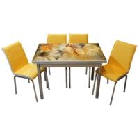 Mavi Mobilya Mutfak Cam Masa Takımı Yandan Açılır 18R6 (6 Suni Deri Sarı Sandalyeli)
