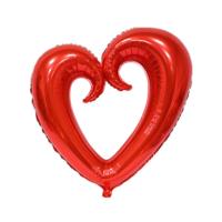 KullanAtMarket Kıvrımlı Kırmızı Kalp Folyo Balon 80Cm