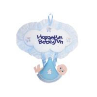 KullanAtMarket Hoşgeldin Bebeğim Mavi Kundak Kapı Süsü