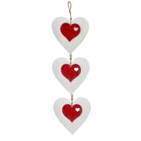 KullanAtMarket Beyaz Ahşap Kalp Kapı Süsü 3'Lü