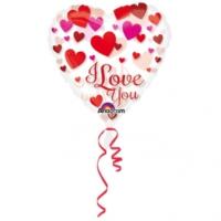 Alins I Love You Kalp Şeffaf Folyo Balon 66 Cm