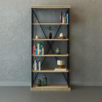 Evmanya Haus Eta Metal Profil Kitaplık Endülüs Meşe