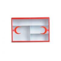 Çelik Ayna Metal Ecza Dolabı Camlı Kırmızı