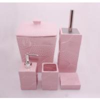 Hiper 7 Parça Kare Form Lüx Porselen Banyo Seti Pembe