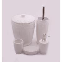 Hiper 7 Parça Yuvarlak Form Vintage Lüx Porselen Banyo Seti Beyaz