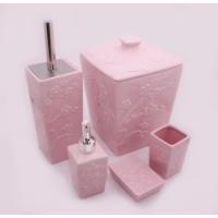 Hiper 7 Parça Kare Form Lüx Porselen Banyo Seti Çiçekli Pembe