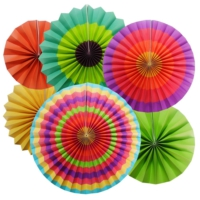 Partioutlet Karışık Renklerde Yelpaze Süs - 6Lı