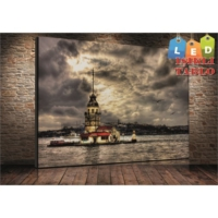 Yeshills Tablo Hdr Kız Kulesi Led Işıklı Kanvas Tablo 45*65 Cm