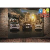 Yeshills Tablo 3Lü Araba Ve Şehir Led Işıklı Kanvas Tablo 45 X 65 Cm
