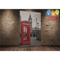 Yeshills Tablo Londra Telefon Kulubesi Led Işıklı Kanvas Tablo 45 X 65 Cm