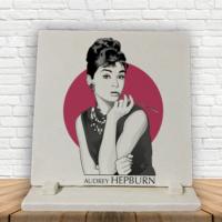 KFBiMilyon Audrey Hepburn Baskılı Doğaltaş Masa Dekoru