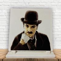 KFBiMilyon Charlie Chaplin Düşünceli Baskılı Doğaltaş Masa Dekoru
