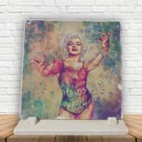 KFBiMilyon Madonna İllüstrasyon Baskılı Doğaltaş Masa Dekoru